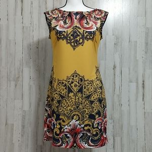 Aryeh Dresses - Aryeh Gold Floral Sleeveless Dress